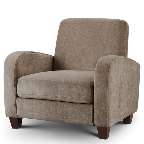 Image of Hampshire Fabric Sofa Chair In Mink Chenille With Wooden Feet