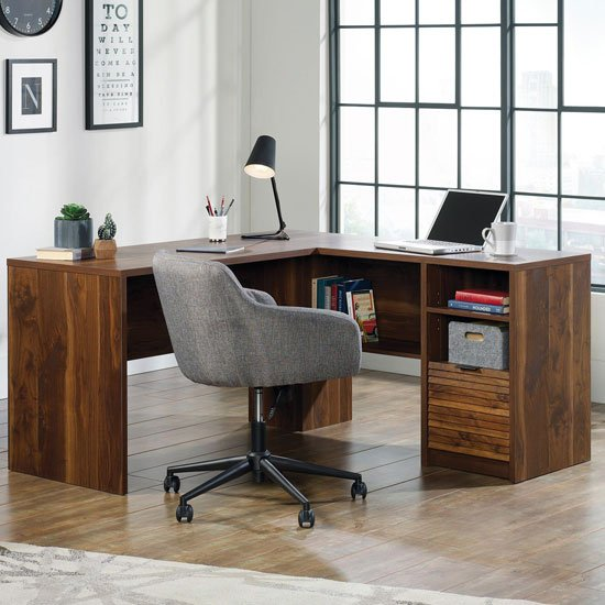 Hampstead Park Wooden L-Shaped Laptop Desk In Grand Walnut
