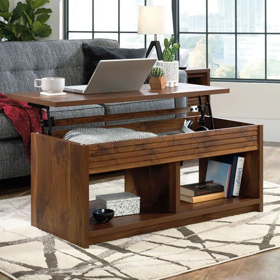View Hampstead park wooden lift up coffee table in grand walnut