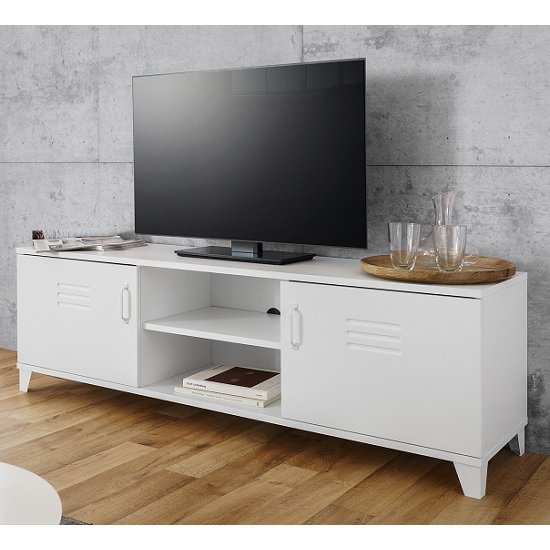 Hampstead Contemporary TV Stand In White With 2 Doors