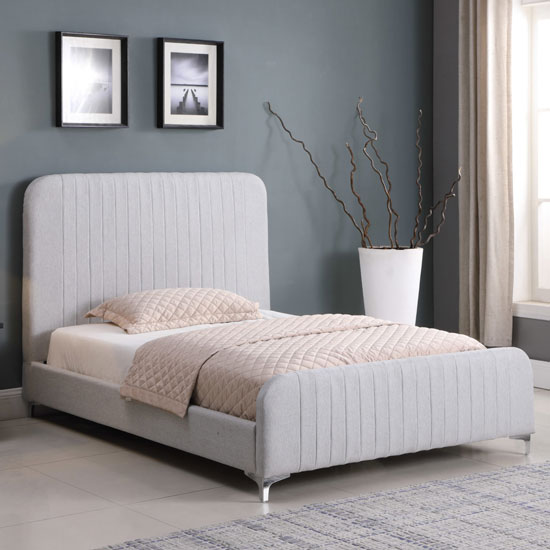 Hampton Fabric King Size Bed In Light Grey