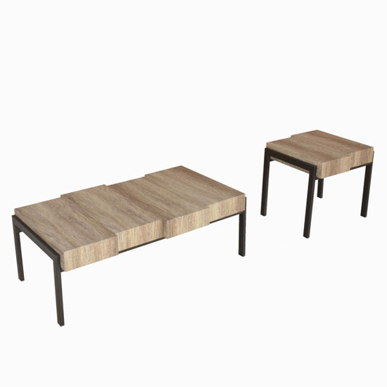 Hampton Wooden Coffee Table In Canyon Grey With Metal Legs_2