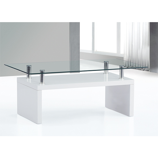 Hampton Wooden Coffee Table In White High Gloss