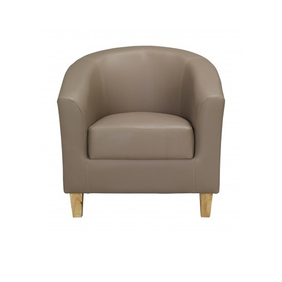 Hana Tub Chair In Taupe Faux Leather With Wooden Legs 28695