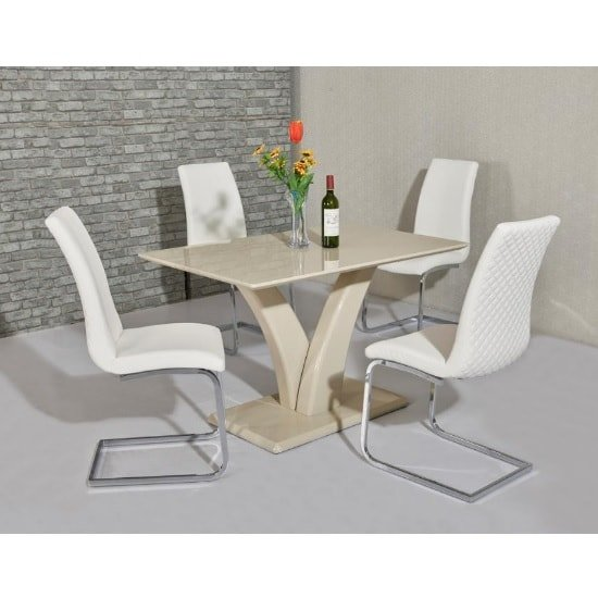 Hanbury Dining Table In Cream Gloss With 4 Orly White Chairs