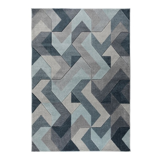 Hand Carved Aurora Denim Blue Rug