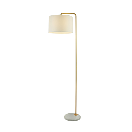 Hangman Gold Floor Lamp With White Marble Base