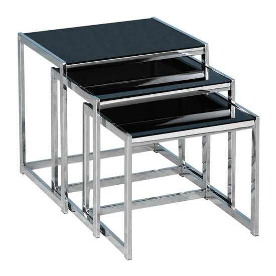 View Hanley black glass nest of tables with chrome metal frame