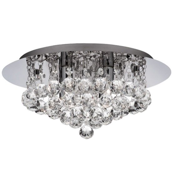 Hanna 4 Light In Ceiling Flush In Chrome With Crystal Balls
