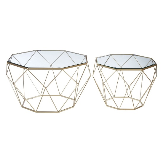 Hannah Set Of 2 Glass Side Tables In Clear With Champagne Base_1