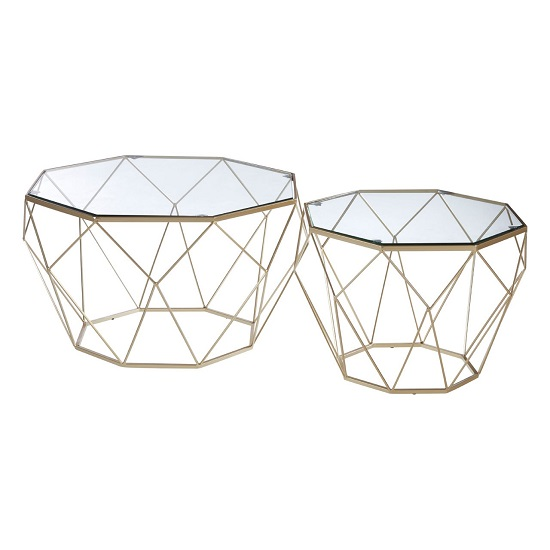 Hannah Set Of 2 Glass Side Tables In Clear With Champagne Base_2