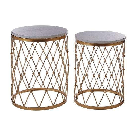 Hannah Set Of 2 Marble Side Tables In White With Gold Base