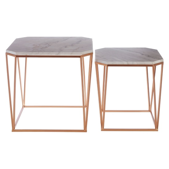 Hannah Set Of 2 Marble Side Tables In White With Rosegold Base