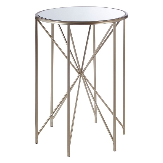 Hannah Mirrored Glass Side Table With Champagne Finish Base
