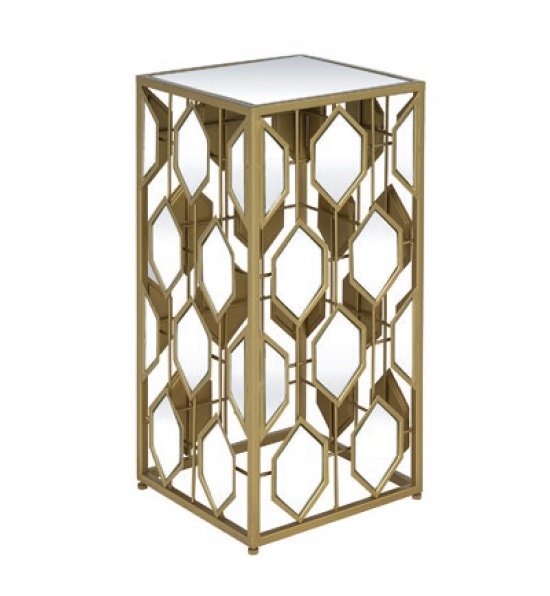 Hannover Mirrored Side Table Small In Gold_1