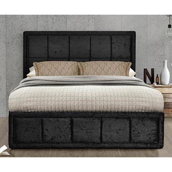 Hannover Ottoman Fabric Double Bed In Black Crushed Velvet_2