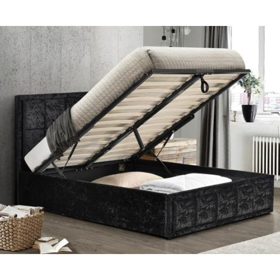 Hannover Ottoman Fabric Double Bed In Black Crushed Velvet_3