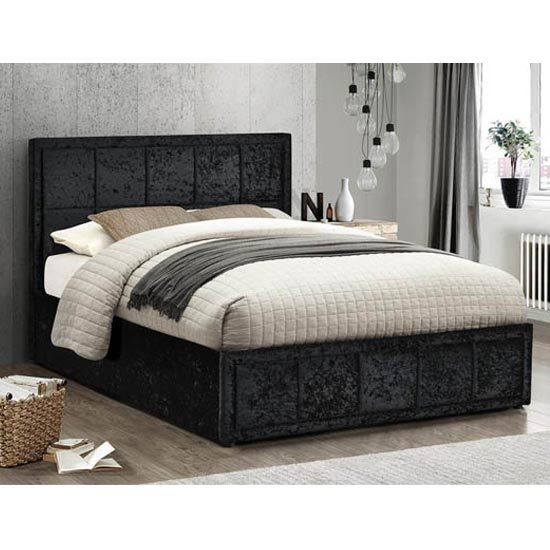 Hannover Ottoman Fabric Small Double Bed In Black Crushed Velvet