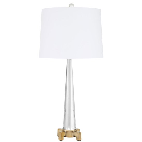 Hanoa Table Lamp In White With Tower Shaped Crystal Base