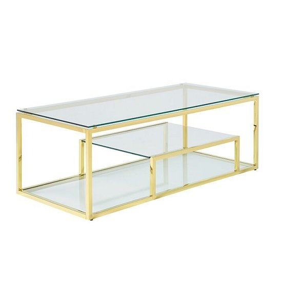 Hansen Glass Coffee Table In Clear With Gold Finish Frame