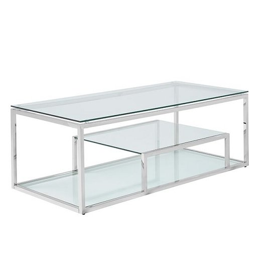 Hansen Glass Coffee Table In Clear And Polished Stainless Steel
