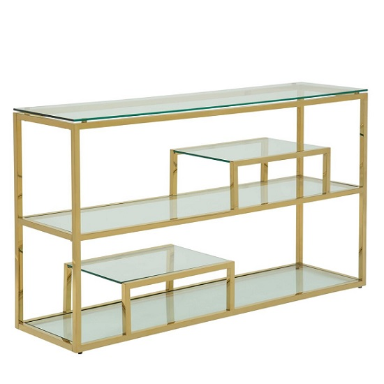 Hansen Glass Console Table In Clear With Gold Finish Frame
