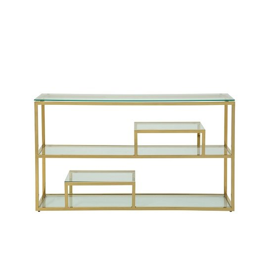 Hansen Glass Console Table In Clear With Gold Finish Frame_2