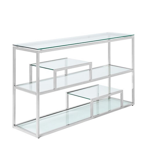Hansen Glass Console Table In Clear And Polished Stainless Steel