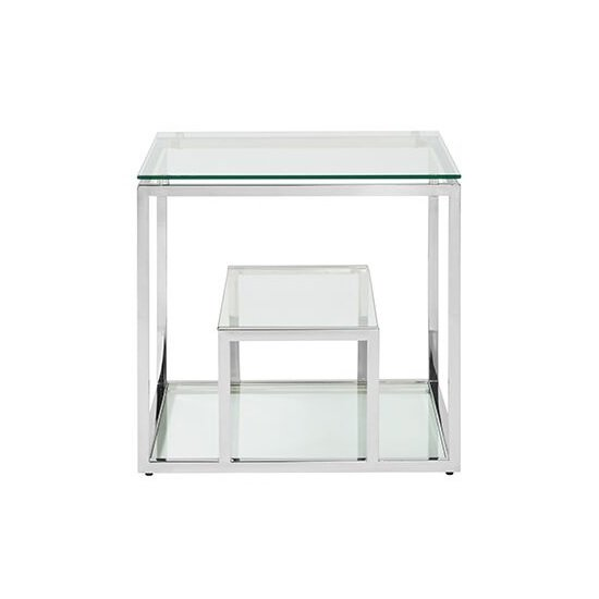 Hansen Glass Lamp Table In Clear And Polished Stainless Steel_2