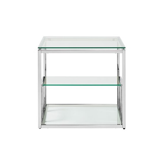 Hansen Glass Lamp Table In Clear And Polished Stainless Steel_3