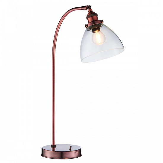 Hansen Table Lamp In Aged Copper Finish