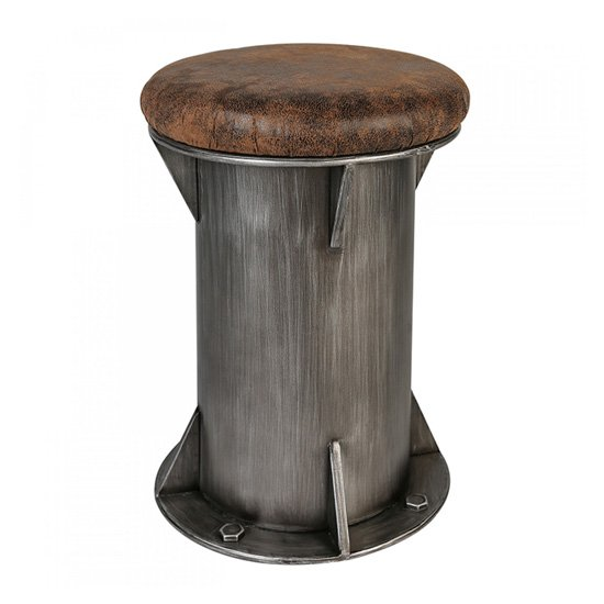Harbour Brown Leather Seat Stool With Anthracite Metal Base