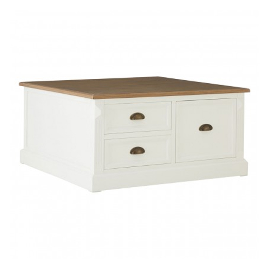 Hardtik Wooden 3 Drawers Coffee Table In White