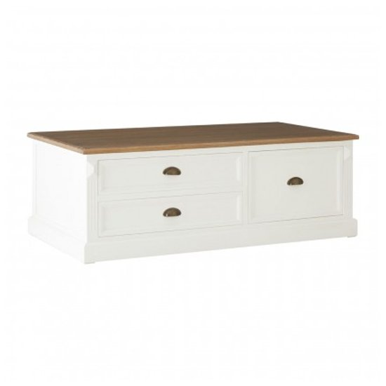 Hardtik Wooden 3 Drawers Low Coffee Table In White