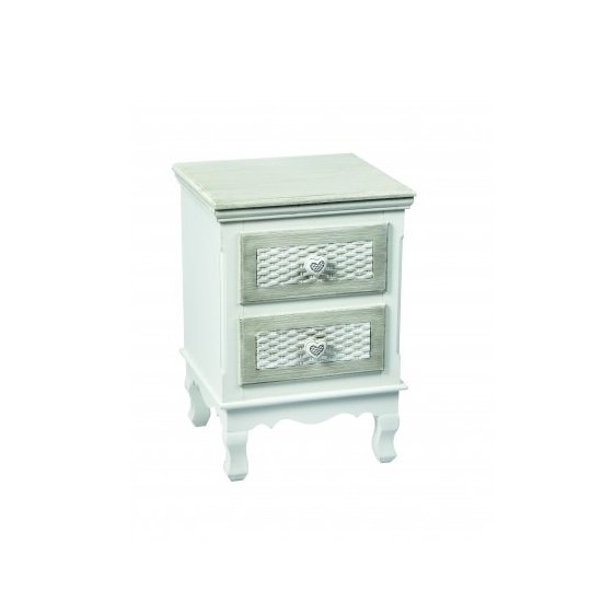 Read more about Harerra bedside cabinet in white and grey with 2 drawers