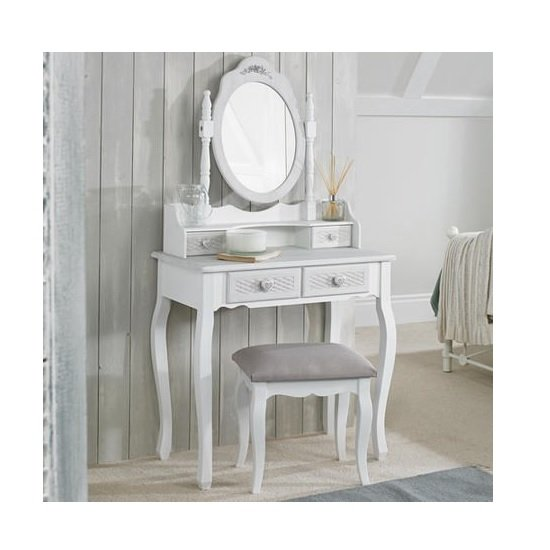 Harerra Wooden Dressing Table Set In White And Grey