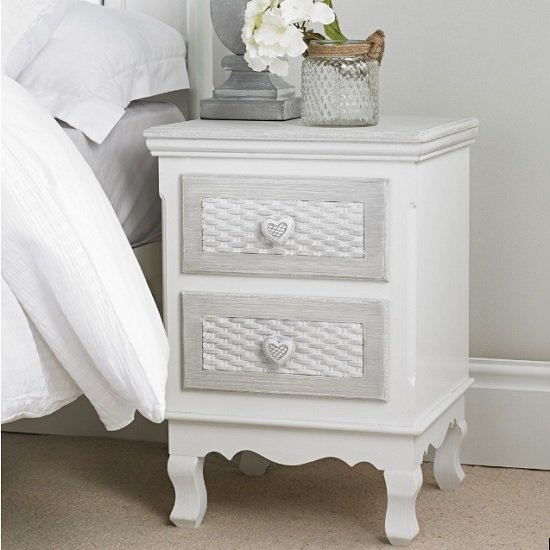Harerra Bedside Cabinet In White And Grey With 2 Drawers