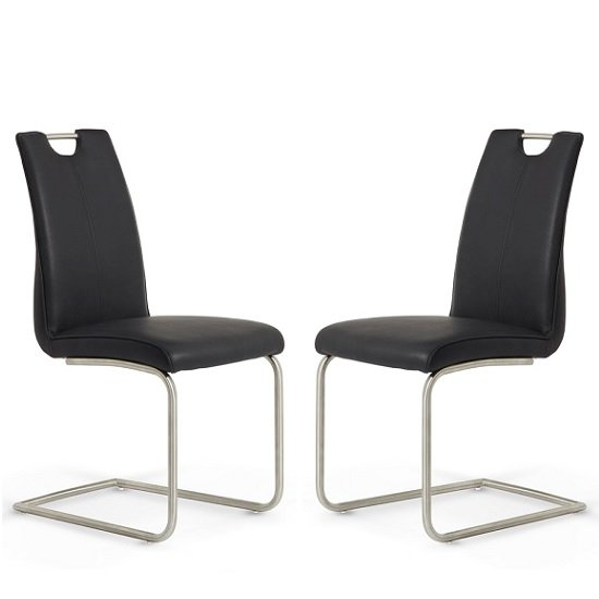 Harley Harley Dining Chair In Black Faux Leather In A Pair