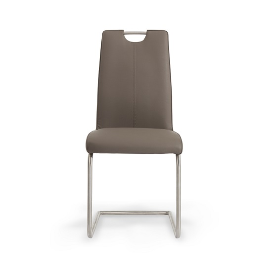 Harley Dining Chair In Brown Faux Leather In A Pair_3