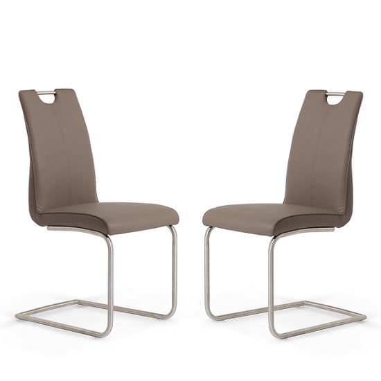 Harley Dining Chair In Brown Faux Leather In A Pair_1