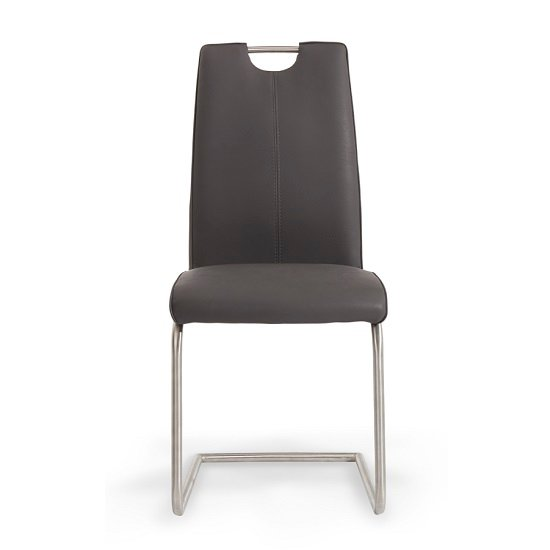 Harley Dining Chair In Grey Faux Leather In A Pair_2