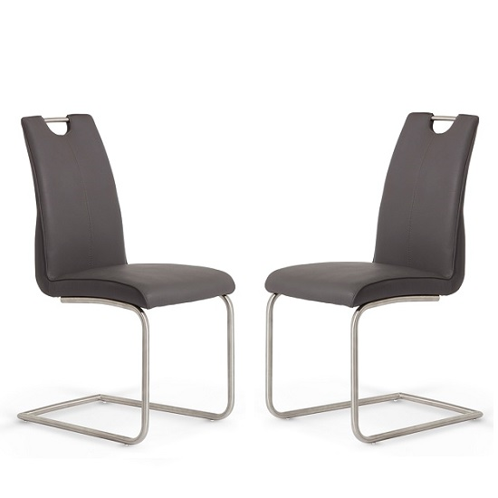 Harley Dining Chair In Grey Faux Leather In A Pair