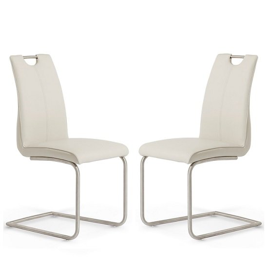 Harley Dining Chair In Taupe Faux Leather In A Pair