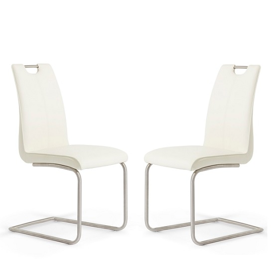 Harley Dining Chair In White Faux Leather In A Pair