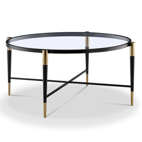 Harlinne Glass Coffee Table With Black And Brass Legs
