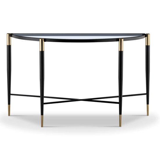 View Harlinne glass console table with black and brass legs