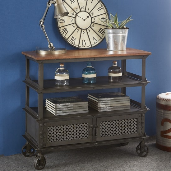 Harlow Console Table In Hardwood And Reclaimed Metal With 2 Door