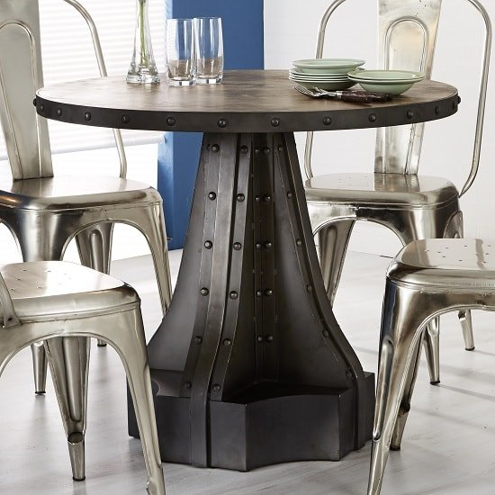 Harlow Dining Table Round In Solid Hardwood And Reclaimed Metal