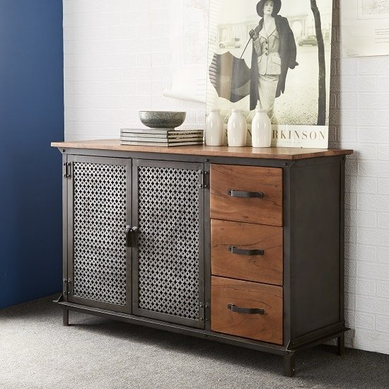 Harlow Sideboard In Hardwood And Reclaimed Metal With 3 Drawers