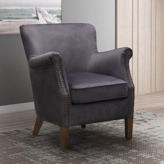 View Harlow velvet upholstered vintage armchair in charcoal grey